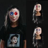 LED Scary Momo маски игра Ужас маска Косплей Полный Head Momo Маска Big Eye с длинными париками Halloween Party Реквизита