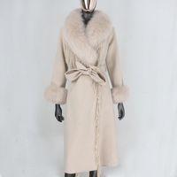 Lanas combinaciones de mujeres CXFS 2021 X-Largo Tassel Cashmere Cinturón de piel de piel real Chaqueta de invierno Mujeres Natural Collar y puños Streetwear