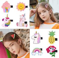 INS 20 renkler Kız Saç Aksesuarları Sevimli Flamingo Unicorn Gökkuşağı Ananas el yapımı yay saç tokası Renk kız hairbands Tokalarım