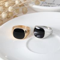 Novo tamanho de moda 7-12 Vintage venda quente clássico ouro / prata cor mens homens esmalte anéis pretos para homens a47 * 20