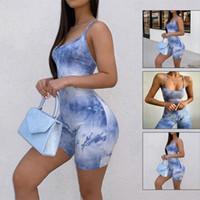 conjunto atractivo de las mujeres de verano Body Stretch mameluco del tinte del lazo Top Slim Fit Casual Llanura Mono Pantalones cortos honda de la aptitud chándales
