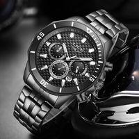 2020 Lige Erkek İzle Moda Yeni Siyah Paslanmaz Çelik Spor Su geçirmez Saatler İçin Erkekler Çok Fonksiyonlu Chronograph
