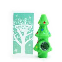 1pc 크리스마스 트리 담배 파이프 FDA 실리콘 흡연 액세서리 유리 그릇 크리스마스 선물을위한 손 파이프 무료 배송