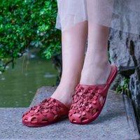 nova flor fundo plano chinelos buraco confortáveis literárias VALLU 2020 sapatos originais das mulheres de couro artesanais de verão
