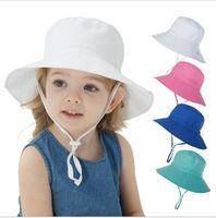 color sólido hotsale lindo Prueba sombrero del bebé niños del cubo Sombreros Niño Niña Panamá verano del niño del casquillo del sombrero de Sun del viento