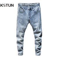 Skinny Jeans Men Light Blue Stretch 2020 Spring Fashion Stre...