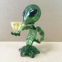 Alien Glaspfeifen Glass Pfeife Wasserrohre 18cm Höhe Grün G-Punkt-Rauchpfeifen Alien Glaspfeife Bong Wasser