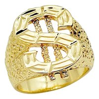 Classic US Dollar Charms Ring Punk Gold Color Hip Hop Ring F...