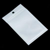 100 pcs Pequeno Branco Transparente Fechadura Poli Poly Bag Hang Buraco Clear Zíper Bolsas De Pacote Plástico Com Zíper Self SEAL