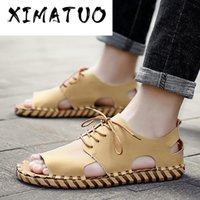 Soft Men' s Sandals Summer Lace- up Open Toe Outdoor Shoe...