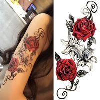Aquarell coole Henna Rose Blumen Temporäre Körpertätowierung Schöner Schulterschenkel Zurück Körperdekor Spitze Eule Frauen Körperfarbe