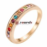 Yoursfs Fashion Jewelry Austrian Crystaring 18 K Gold blanco Plantado Uso Claro Cristal Simulación de piedras preciosas Anillos de boda nupcial para mujeres