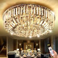 높은 품질의 새로운 현대 스테인레스 스틸 K9 크리스탈 LED E14 샹들리에 룸 천장 조명 펜던트 램프 조명 50cm 60cm 80cm