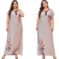 Vestuário étnica Mulheres Kaftan Impresso Longo Dress Muçulmano Plus Size Islamic Ramadan Verão Manga Curta Robe Vestido Casual V-Pescoço Moda
