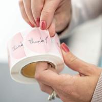 500pcs Adesivi Adesivi 1inch Adesivi rosa per la compagnia Giveaway Birthday Party Favors Etichette Mailing Supplies Festival
