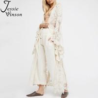 Jessie Vinson Mode femmes Taille Plus perspective à manches longues en dentelle Cardigan long Kimono plage maillot de bain blanc Recouvrir ensemble