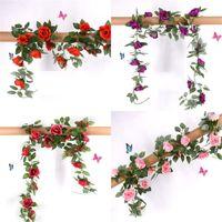 Las plantas secas de plástico de simulación de las flores artificiales flor de Rose boda de la vid decoraciones de la pared exquisita decoración apuesto 9 5SW E2