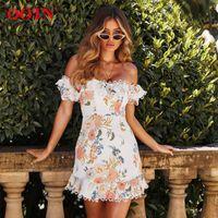 Вечеричные платья OOTN Элегантные цветочные печать женщины платье с коротким рукавом Sundress сексуальное кружево с плечом лето белые повседневные женские Vestidos