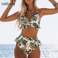 Sexy cintura alta Bikini 2020 Mulheres Swimsuit Folha Imprimir Ruffle Halter brasileira Swimwear Swimming Suit For Ladies terno de banho XL