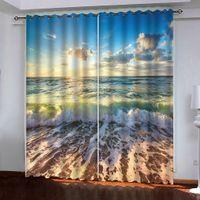 Strand in den Sonnenuntergang Fenster Blackout Luxus-3D-Vorhang für Wohnzimmer Schlafzimmer Büro Hotel Dekor
