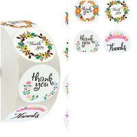 Étiquette papier auto-adhésif Merci autocollants Autocollant de sucrerie de Noël Jour d'événement de partie d'emballage circulaire Livraison gratuite 1 99rla D2
