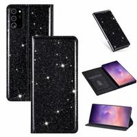 Cuoio ultra sottile di glitter magnetica vibrazione del raccoglitore con la fessura per carta telefono mobile per Samsung Note20 più A51 A71 A11 A21 5G A21S A31 A70E