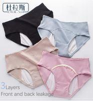 Período de niña de algodón de la ropa interior a prueba de fugas jóvenes Muchacha de media altura de la cintura de las bragas menstrual de la mujer libre Brifes