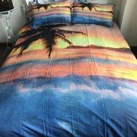 Sıcak Satış 3D Baskılı Yatak 3`lü Plaj Coconut Grove Nevresim Yastık Yüksek Kalite Yatak Malzemeleri ayarlar