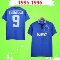 Everton jersey 1995 1996 الرجعية لكرة القدم الفانيلة المنزل الأزرق كلاسيكي camiseta 95 96 خمر لكرة القدم قمصان kanchelskis stuart amokachi ridout ferguson
