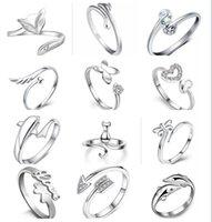 12 Style Choix Placage 925 Sterling Argent Anneaux Dauphins Ailes de libellule de l'ange Love Coeur Fox Papillon Ouverture Anneau réglable