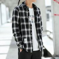 Men' s Plaid Shirt Slim Fit Spring Autumn Male Brand Cas...