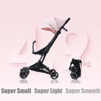 Cochecito de bebé plegable coche pequeño peso ligero de la carretilla del cochecito de niño de cuatro estaciones de Uso mamá Cochecito -Resistencia Cuatro ruedas