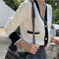 빈티지 숙녀 니트 카디건 스웨터 여성 긴 소매 V 넥 한국 사무실 패션 슬림 탑 Cardigans 2020 가을 겨울
