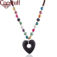 Maxi Necklace Lava Stone Beads Black Heart Long Necklaces fo...