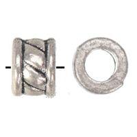 مجوهرات مكونات جولة الخرز سحر سوار الحرف اليدوية DIY صنع خواتم هول كبيرة معدن الفضة العتيقة أزياء 6 * 500PCS 5MM