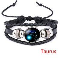 12 Horoskop Zeichen Armband Zeit Edelstein Glas Leder Multilayer Wrap Geflochtene Einstellbare Armbänder Armreif Manschette Armband Schmuck