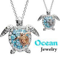 Ocean Turtle Colliers Pour Femmes Collier Pendentif Collier Collier Filles De Luxe Mode Design Bling Strass Collier Animal Bijoux Cadeau