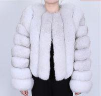 2020 겨울 여우 모피 파카 긴 슬림 맞는 여우 모피 코트는 캐시미어 라이닝 수직 줄무늬 스타일로 따뜻하게 유지 슬리브