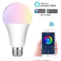 Intelligente WIFI RGB + CW lampadina LED dimmerabili lampadina Lampadina Funziona con Alexa Home page di Google 16 milioni di colori APP telecomando Lampadine