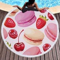 Dessert nourriture ronde Serviette de plage pour adultes Microfibre Douche Serviette de bain Voyage Blanket piscine extérieure Cover Yoga Mat