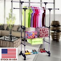 Indoor Clothes Shoe Rack Dual Bars Horizontal & Vertical Telescope Style 3 Tiers Stainless Steel Clothing Garment Shoe Rack B