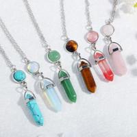 925 silberne natürliche Edelstein-Anhänger Halskette Opal Rose Quartz Heilkristalle Schmuck für Frauen Mädchen NI0729