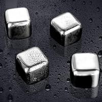 Aço inoxidável Whisky Pedras dos cubos de gelo da geleira refrigerador Pedra Whiskey Rochas 8pc do cubo de gelo + 1pcs clipe Ferramentas KTV Bar GGA3590-3