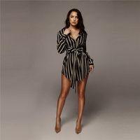 Bayan Çizgili Yay Gömlek Elbise Kadın Yaz A-Line Yaka Boyun Uzun Kollu Seksi Elbiseler Kadın Moda Giysileri