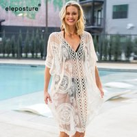 2020 Sexy Lace Praia Cover Up Mulheres Bikini Swimsuit Cover Up oco Out Crochet Beach Dress Ladies Túnicas maiôs Cover-Up Y200708