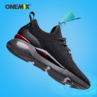 ONEMIX New Arrival Men Air Cushion Flats Treinamento Atlético Sneakers respirável malha Outdoor Sport Shoes Masculino deslizar sobre sapatos de corrida