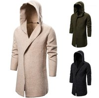 Clothing Mens Solid Color Sweater Cardigan Casual Long Sleeve Hooded Long Knitting Coat New Mens Designer