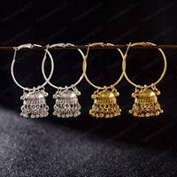 Boho Etnica Oro Argento placcato Jhumka orecchini indiani Gypsy monili delle donne annata grandi campane ciondola Hanging orecchini per le donne