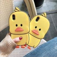 3D-Karikatur-nette gelbe Ente Silikon-Abdeckung für iPhone 5 5s SE 5C 6 6s X XR Xs 11 Pro Max 7 8 Plus Phone Cases Fundas Coque
