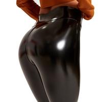 Sexiga PU Läder Leggings för Kvinnor Svart Hög Midja Byxor Leggins Push Up Fashion Jeggings Byxor